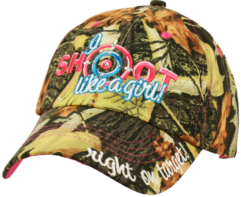 "Camouflage ""Shoot Like a Girl"" Women's Baseball Cap Hat"
