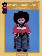 "Cowboy Dirk 13"" Doll Outfit Td Creations Crochet Pattern/Instructions Leaflet - $1.77"