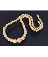 Antique Chinese Export Carved Ivory Beads Chain Necklace 20'' Length - $155.00