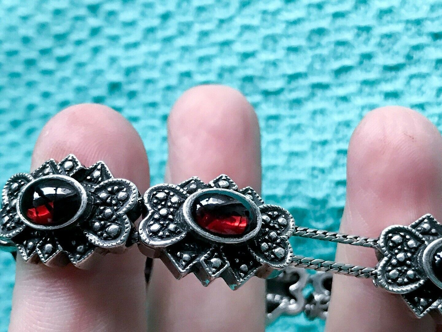Silver and Garnet Eight Station Charm Strung BRACELET Clasp with Safety Chain