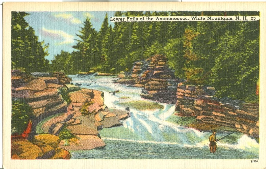 Lower Falls of the Ammonoosuc, White Mountains, NH, unused linen Postcard