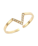 Solid .925 Silver 14k Yellow Gold Plated Round White CZ Chevron Adjustab... - $9.99