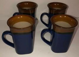 4 Royal Norfolk Fine Stoneware Tall Latte Coffee Mugs Blue/Brown Lg 12 OZ-SHIP24 - $39.48