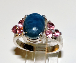 Blue Apatite & Pink Tourmalines Cabochon Sterling Silver Ring Size 6.5 - $150.00
