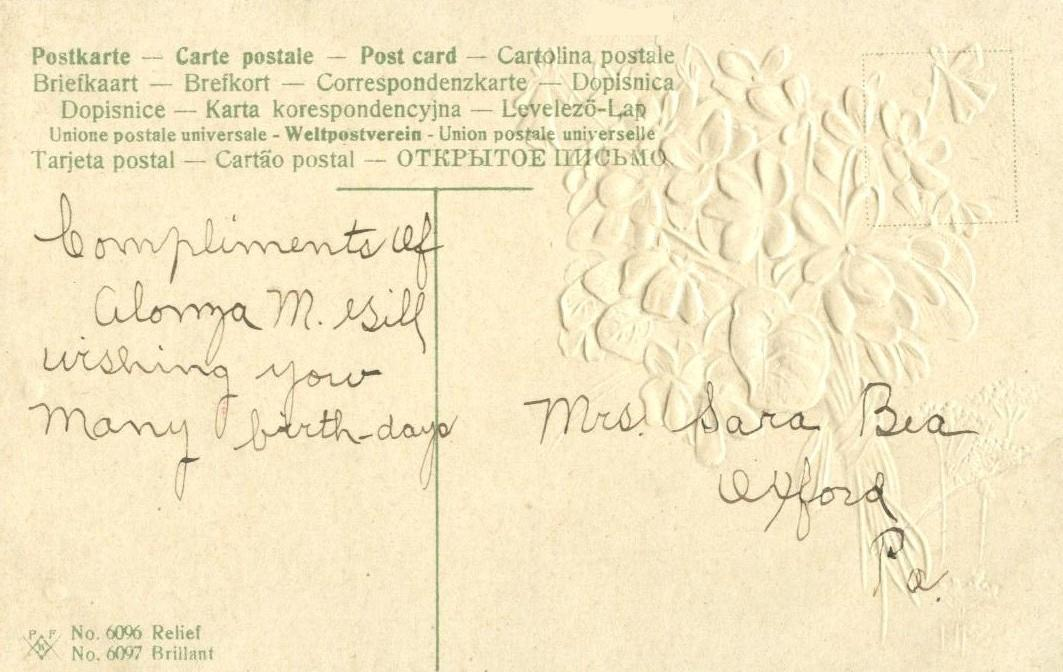 Many Happy Returns of the Day, early 1900s used Postcard