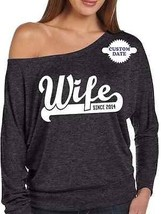 PERSONALIZED WIFE SINCE SHIRT WEDDING GIFTS BRIDAL GIFT BRIDE TO BE FIAN... - $25.74