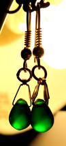 Dainty Frosted Green Czech Glass Smooth Briolette Crystal Dangle Earrings - $9.00