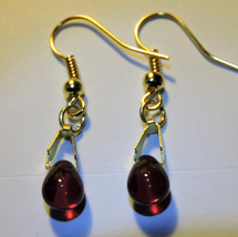 Dainty Cherry Red Czech Glass Smooth Briolette Crystal Dangle Earrings - $9.00