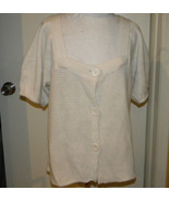 MKM designs Short Sleeve off white Button Front Knit Top Acrylic Sweater... - $9.99