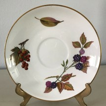 "Evesham Gold Saucer Fine Porcelain Royal Worcester Fruit Gold Trim 6"" - $3.89"