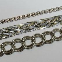 Vintage 3 Piece Lot Solid Sterling Silver ID Curb Link Braid Bracelet 35... - $59.40