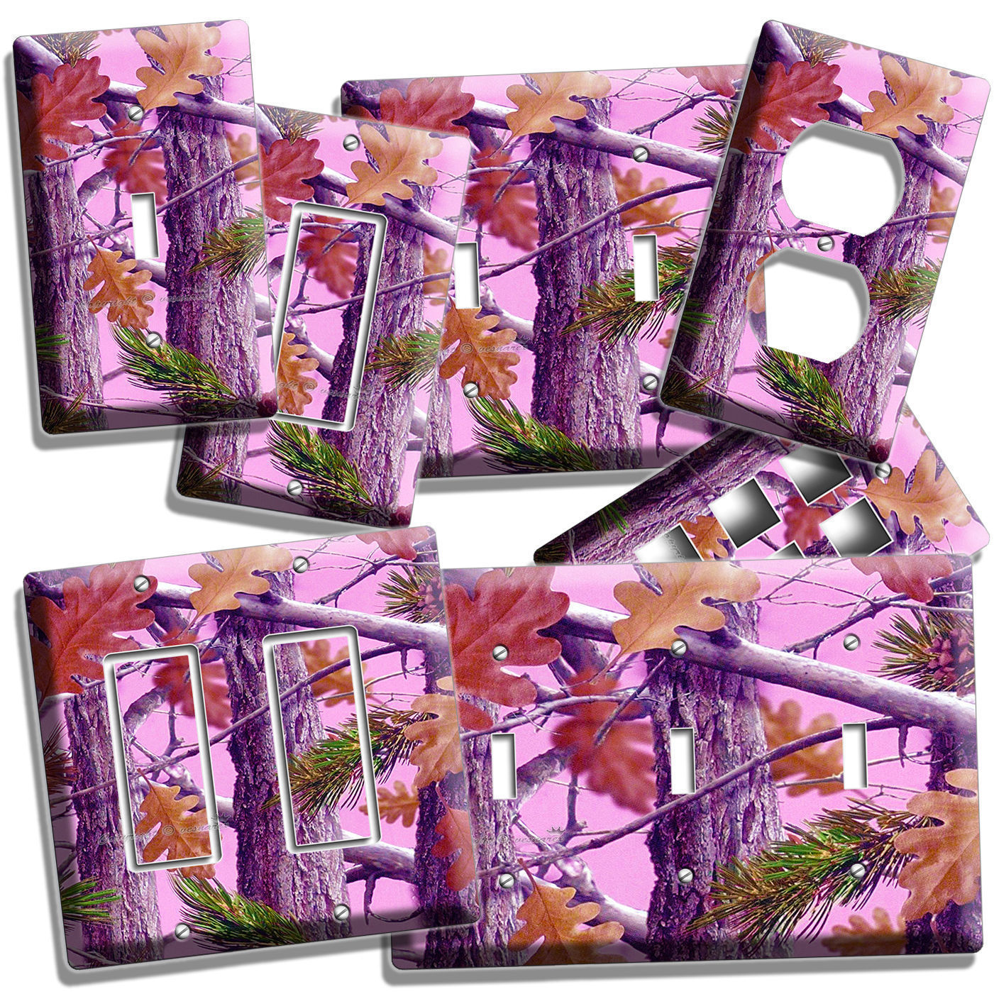 Primary image for MOSSY TREE OAK LEAVES PINK CAMO CAMOUFLAGE LIGHT SWITCH OUTLET WALL PLATE COVER