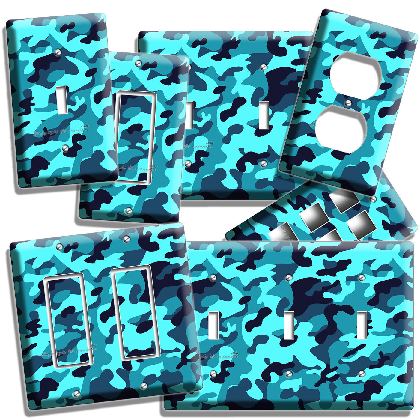 Primary image for BLUE MILITARY NAVY CAMO CAMOUFLAGE LIGHT SWITCH OUTLET WALL PLATE COVER MANCAVE