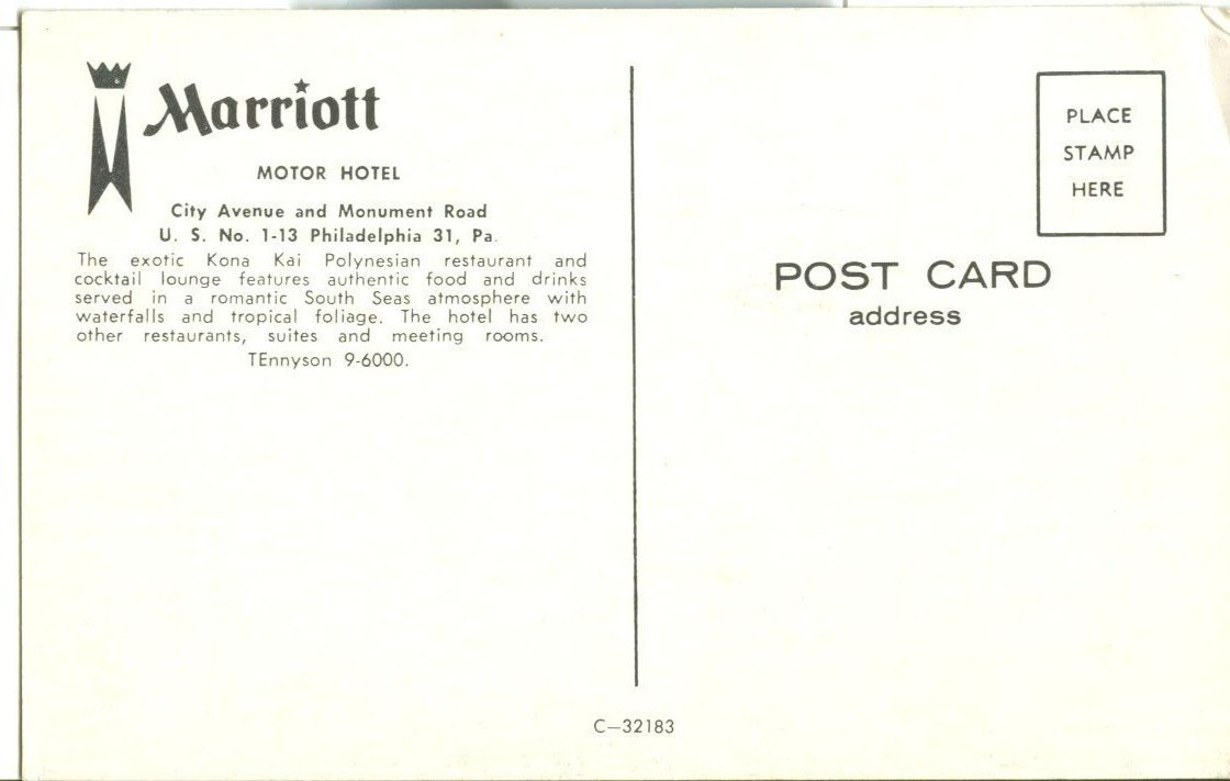 Marriott, Motor Hotel, Philadelphia, PA, unused Postcard