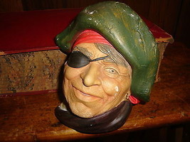 Vintage Head Face Pirate Bucaneer Chalkware Wall Art Made in England - $20.56