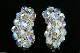 Vintage Silver Tone Aurora Borealis Beads Crystal Cluster clip on Earrin... - $55.40