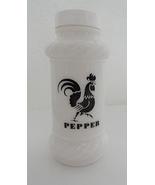 Hazel Atlas White Milk Glass Pepper Shaker Black Rooster - $10.99