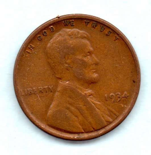 1934 Lincoln Wheat Penny- Circulated - $0.35