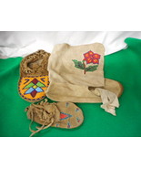 Vintage 2 Moccasins and Boot Beaded on Leather Hand Made - $123.75