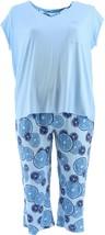 AnyBody Cozy Knit Fruit Slice Printed PJ Placid Blue XS NEW A353790 - $34.63