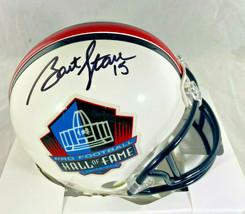 BART STARR / NFL HALL OF FAME / AUTOGRAPHED HALL OF FAME LOGO MINI HELMET / COA image 1