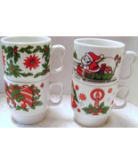 Mid Century Santa Christmas Mugs made in Japan - $25.00