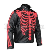 Men Black Skeleton Biker Motorcycle Genuine Leather Jacket with Free CE Armors - $179.99