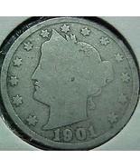 Liberty Head Five Cents 1901 A G - $4.41