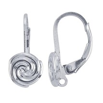 Sterling Silver Lever-Back Ear Wire with Swirl ... - $23.63