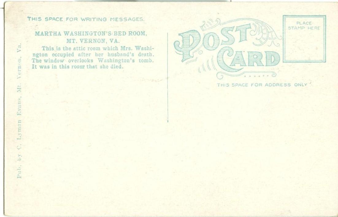 Martha Washington's Bedroom, Mt. Vernon Mansion, VA, 1920s unused Postcard