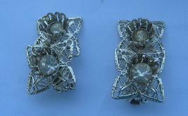 Silver Color Double Flower Clip Earrings - $9.89