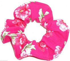 Big Roses Floral Hair Scrunchie Hot Pink Fabric Scrunchies by Sherry Pon... - $6.99