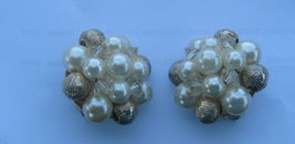 Lisner White Faux Pearls Gold Beads Clip Earrings - $9.89