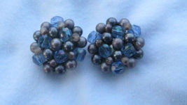 BLUE CRYSTAL & VARIOUS SHADES OF PURPLE BEADS  CLIP EARRINGS MARKED JAPAN - $9.89