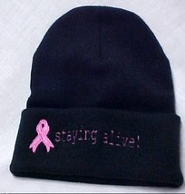 Black Beanie Staying Alive Embroidery Cap Hat Head Cover Pink Awareness - $15.65