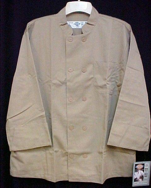 Dickies Chef Coat Tan CW070305 Restaurant Button Front Uniform Jacket 2X New