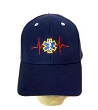 EMT EMS Star of Life Baseball Hat Navy Blue Cap Velcro Strap New - $17.79