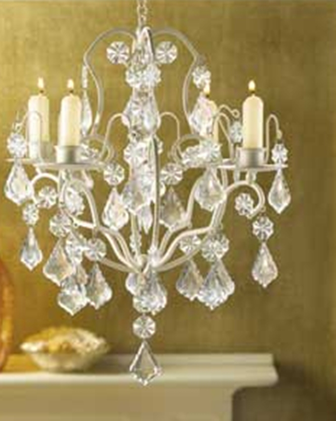 CHANDELIER candle lamp  Curlicues crystals  Hanging chain