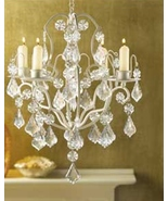 CHANDELIER candle lamp  Curlicues crystals  Hanging chain - $18.97