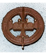 Antique Sword & Crown Thick Bronze Cross Belt Plate STEADFAST IN THE FAITH - $24.95