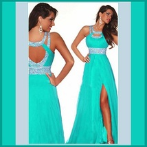 Aqua Blue Sequined Strap and Sequined Empire Waist Fully Lined w/ Leg Split Gown