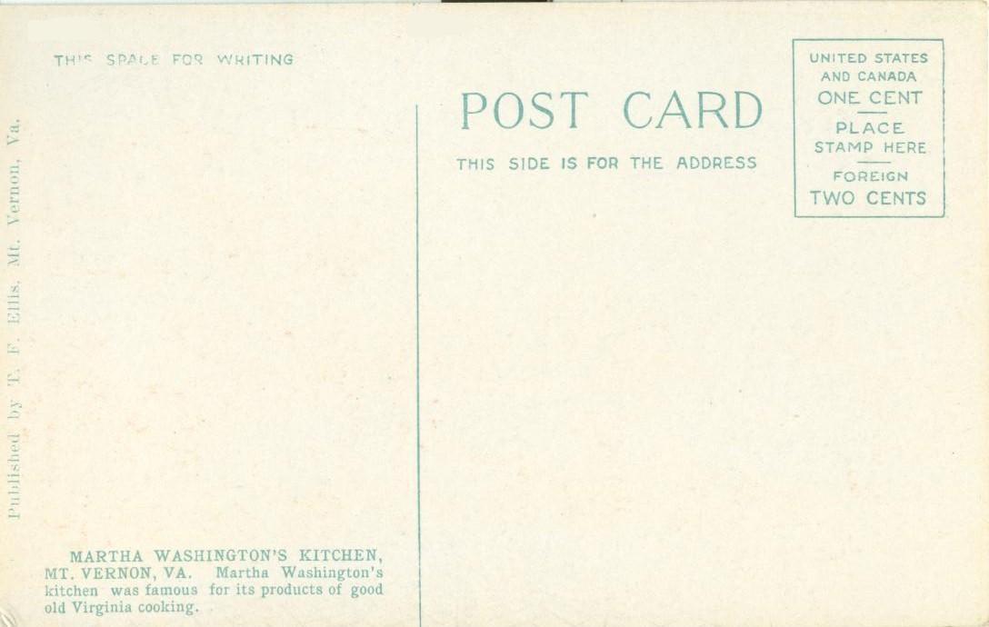 Martha Washington's Kitchen, Mt. Vernon, VA, early 1900s unused Postcard