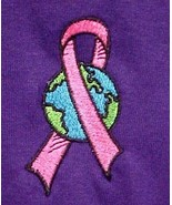Pink Ribbon World Sweatshirt Large Purple Breast Cancer Crew Neck Unisex... - $27.41