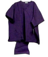 Purple V Neck Top Drawstring Pants Unisex Medical Uniforms 2 Piece Scrub... - $35.61