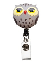 Retractable Brown Barn Hoot Owl Medical Badge Deluxe 3D ID Tag Clip Hold... - $12.71