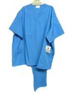 Scrub Set 2pc Electric Blue V Neck 2 Pocket Top Drawstring Pants 4X Unis... - $35.61