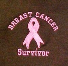 Survivor Sweatshirt M Breast Cancer Pink Ribbon Brown Crew Neck Embroide... - $28.39