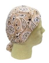 Tan Khaki Paisley Chemo Cancer Head Cover Cap Durag Polyester Spandex New - $9.67