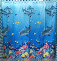 DOLPHIN Under the Sea Adorable Design 178 x 178 cm Bathroom Use SHOWER C... - $23.99