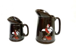 Vintage Redware 2 Pitchers Raised Cock Rooster ... - $39.17